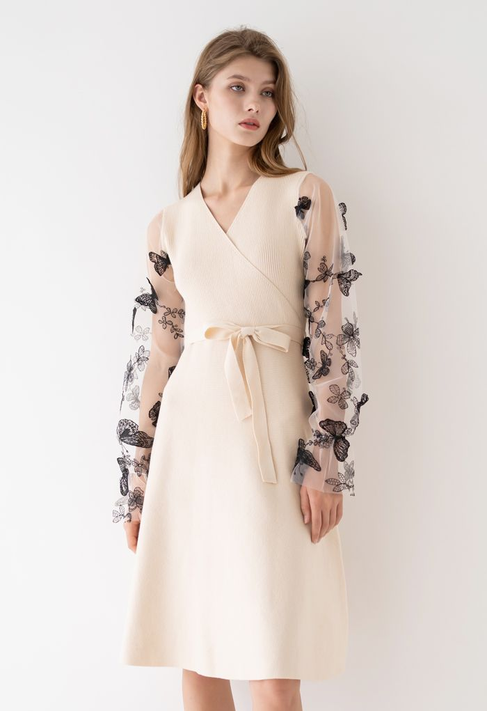 3D Butterfly Mesh Sleeves Wrap Knit Dress in Cream