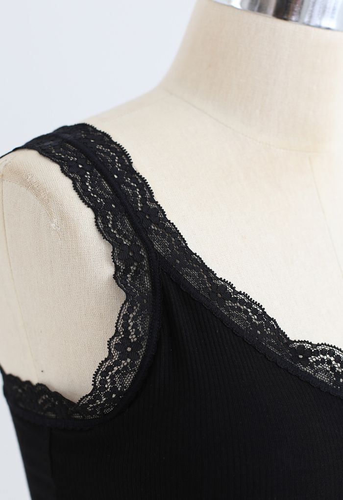 Lace Straps Tank Top in Black