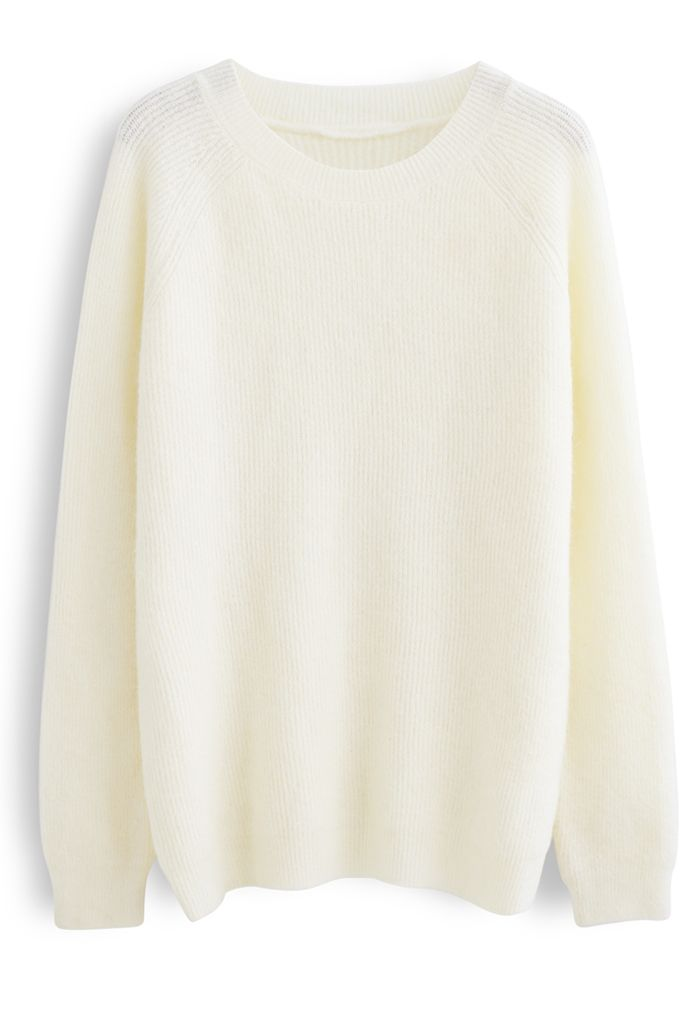 Basic Soft Touch Oversized Knit Sweater in White