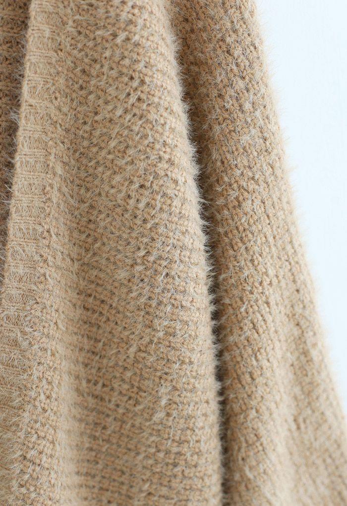 Fuzzy Open Front Waffle Knit Cardigan in Tan