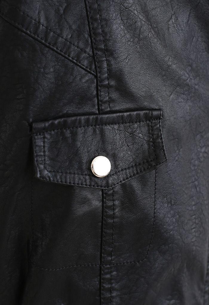 Crop Faux Leather Moto Jacket in Black