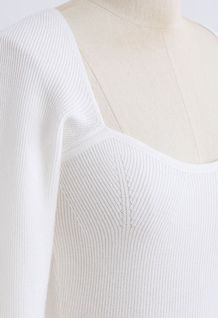 Square Neck Long Sleeves Fitted Knit Top in White