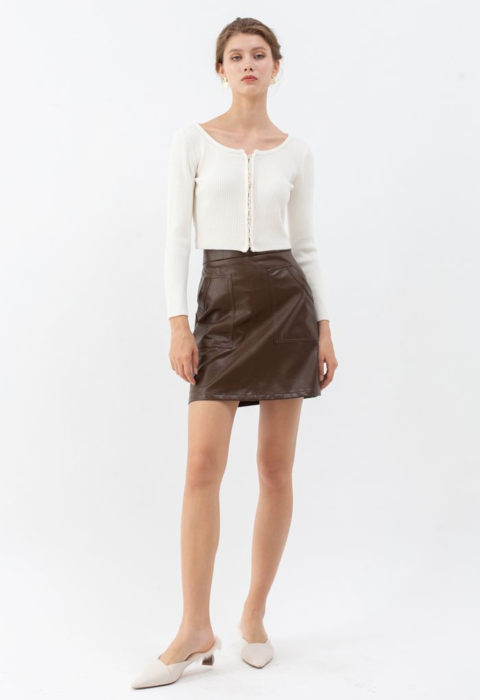 Pockets Faux Leather Bud Skirt in Brown