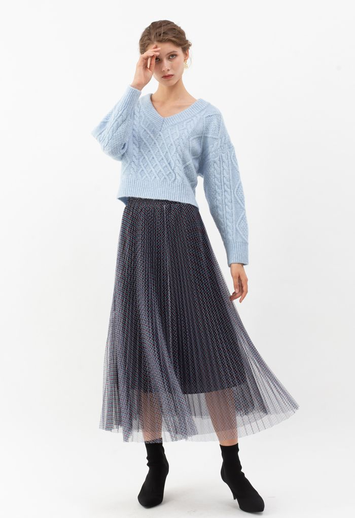 Tie-Back Cable Knit V-Neck Crop Sweater in Blue