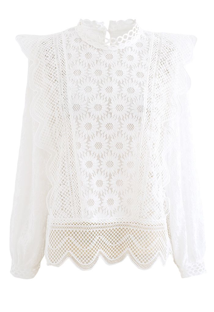 Sunflower Full Lace Long Sleeves Top in White