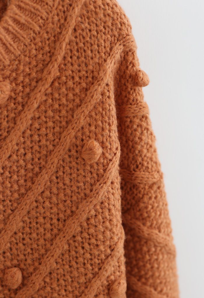 Raw Hem Pom-Pom Oversize Knit Sweater in Orange