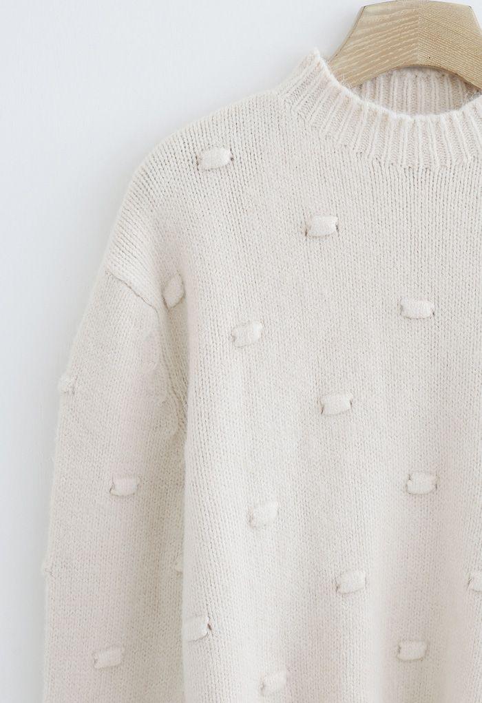 3D Dot High Neck Knit Sweater in Cream