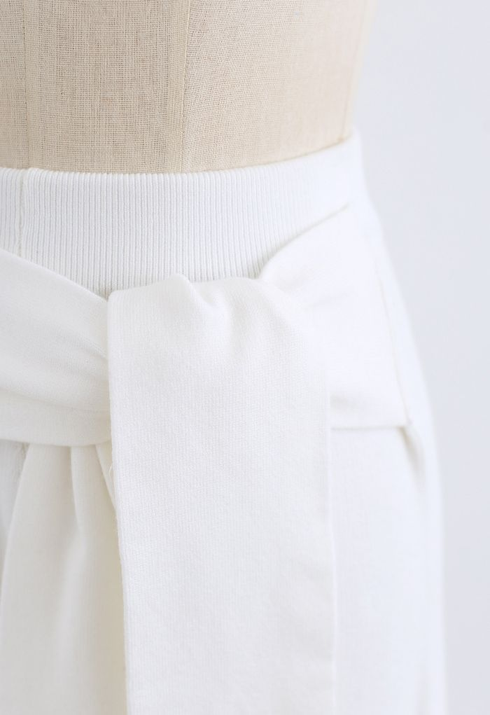 Self-Tie Waist Knit Wide-Leg Pants in White