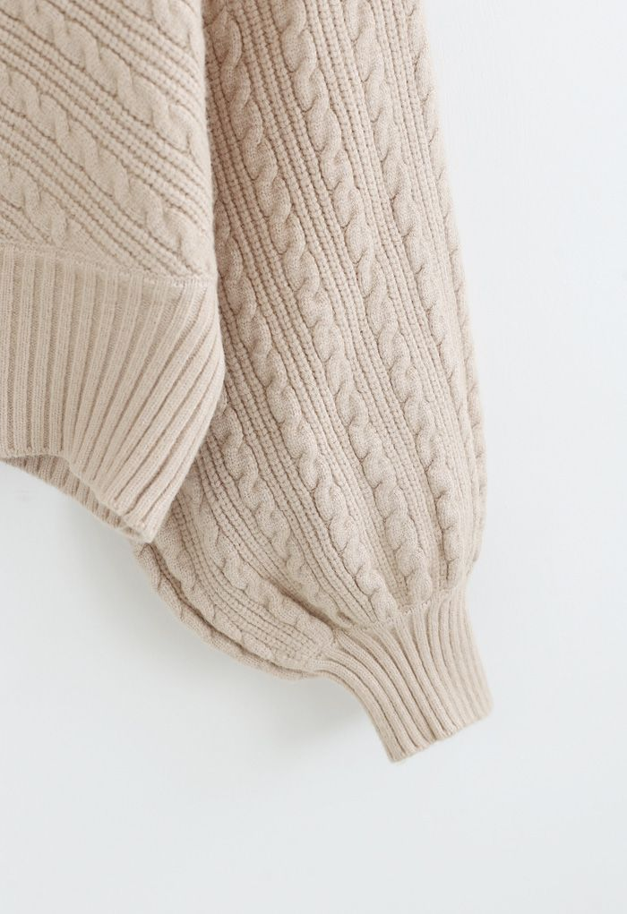 Batwing Sleeves Braid Knit Sweater in Tan