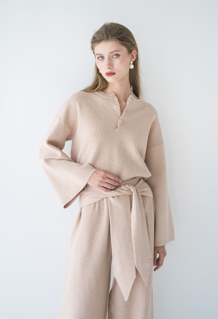 Buttoned Flare Sleeves Knit Sweater in Tan