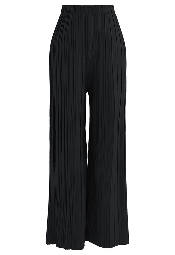 Full Pleated Two-Piece Shorts and Pants in Black