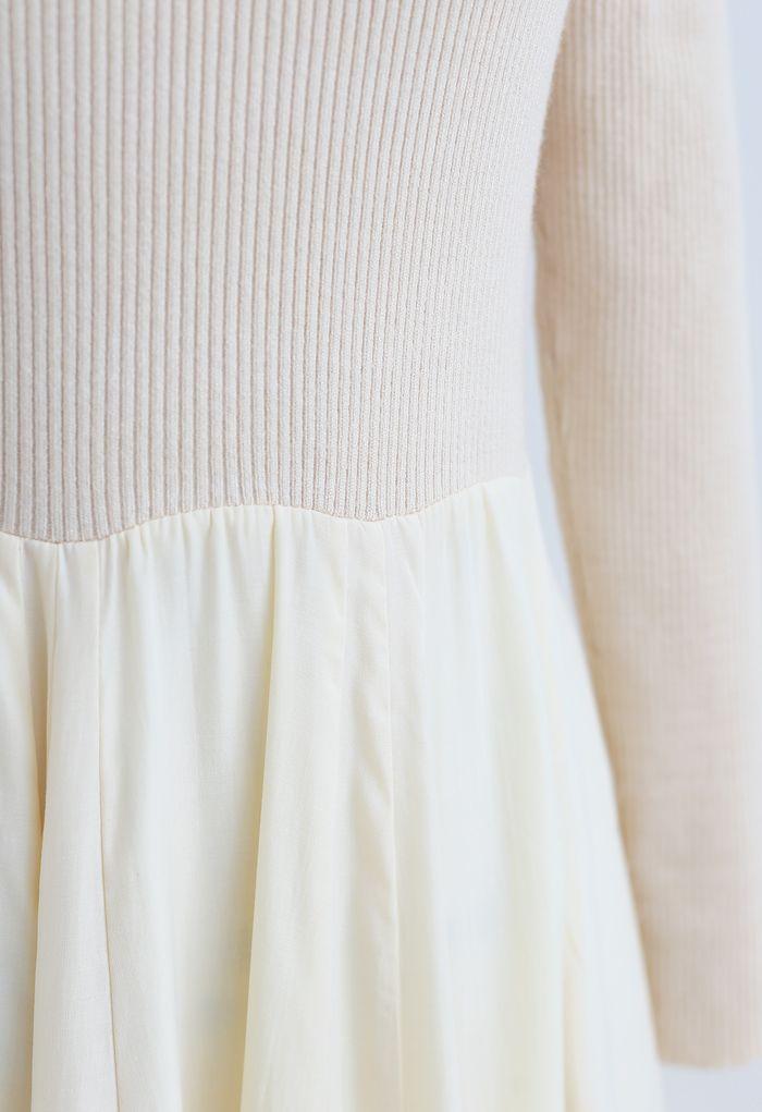 Knit Spliced Long Sleeves Maxi Dress in Cream