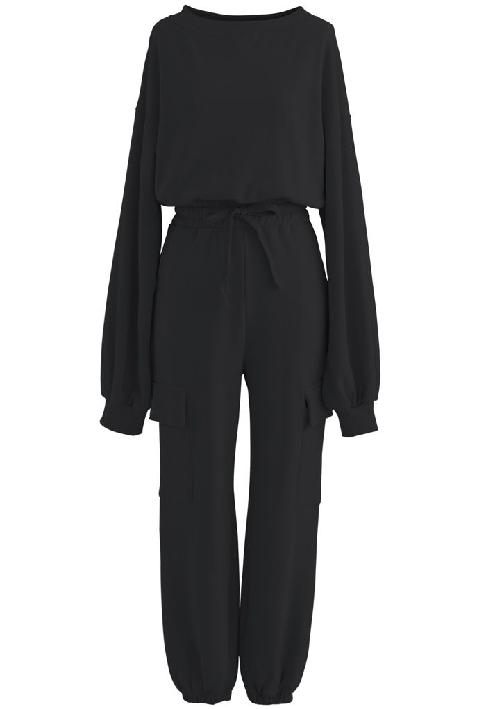 Cropped Sweatshirt and Drawstring Pockets Joggers Set in Black