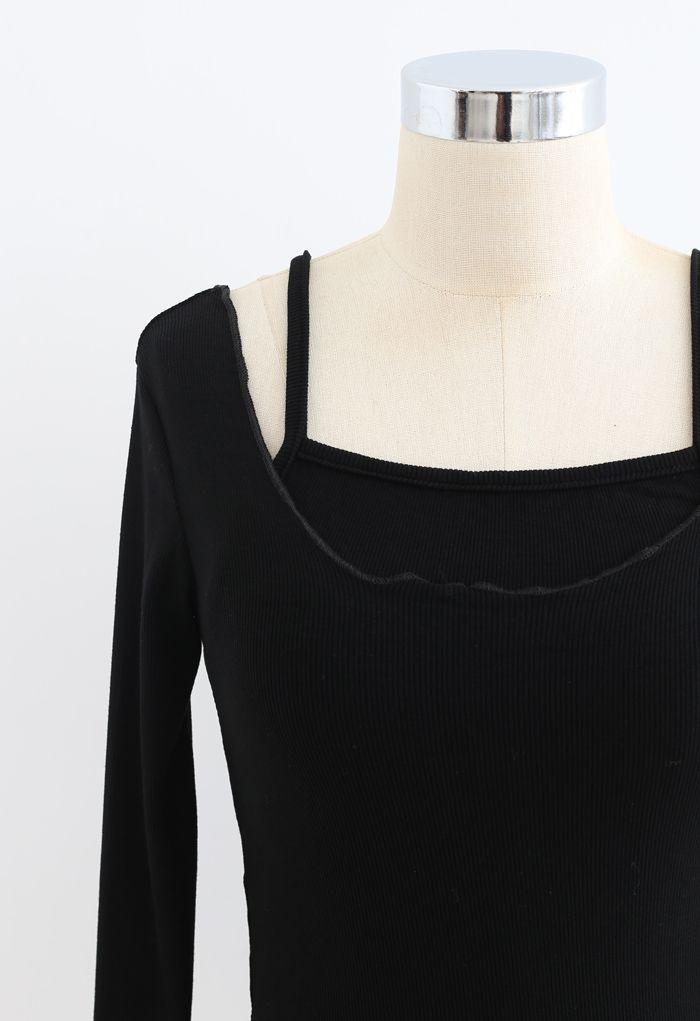 Two-Piece Lettuce-Hem Knit Top in Black