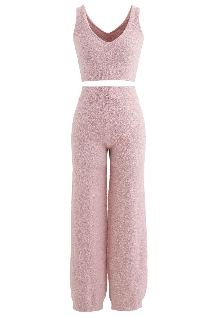 Fluffy Knit Crop Tank Top and Pants Set in Pink
