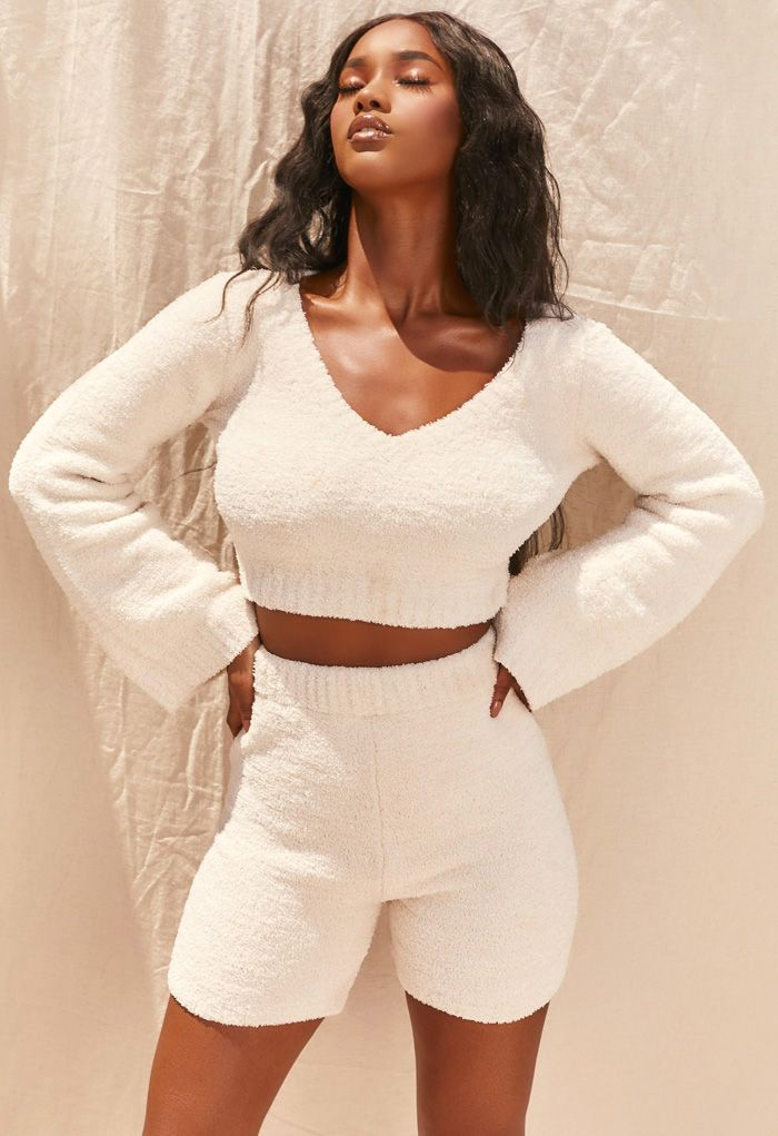 Fluffy Knit V-Neck Crop Top and Shorts Set in Ivory