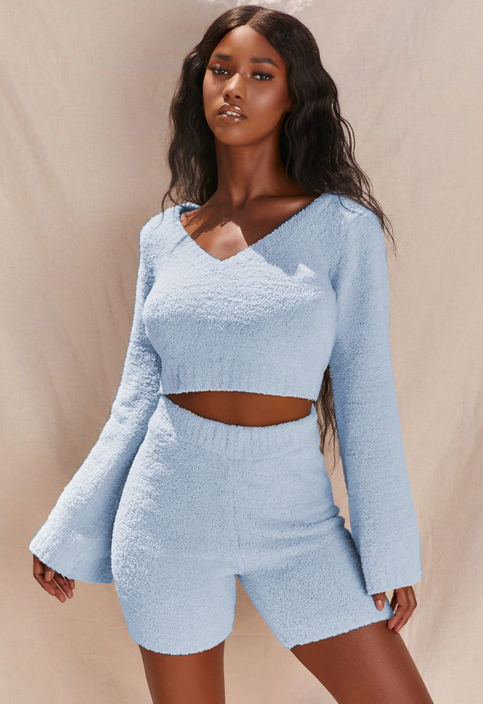 Fluffy Knit V-Neck Crop Top and Shorts Set in Blue
