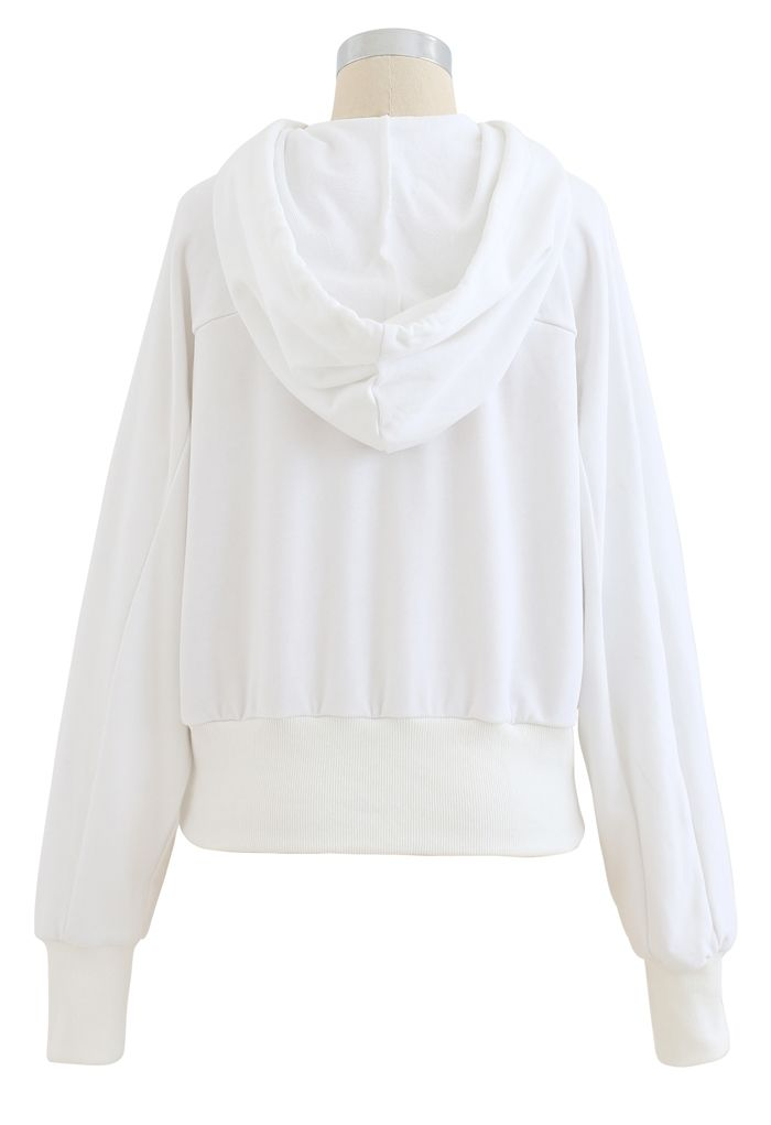Spliced Cutout Hooded Cropped Sweatshirt in White
