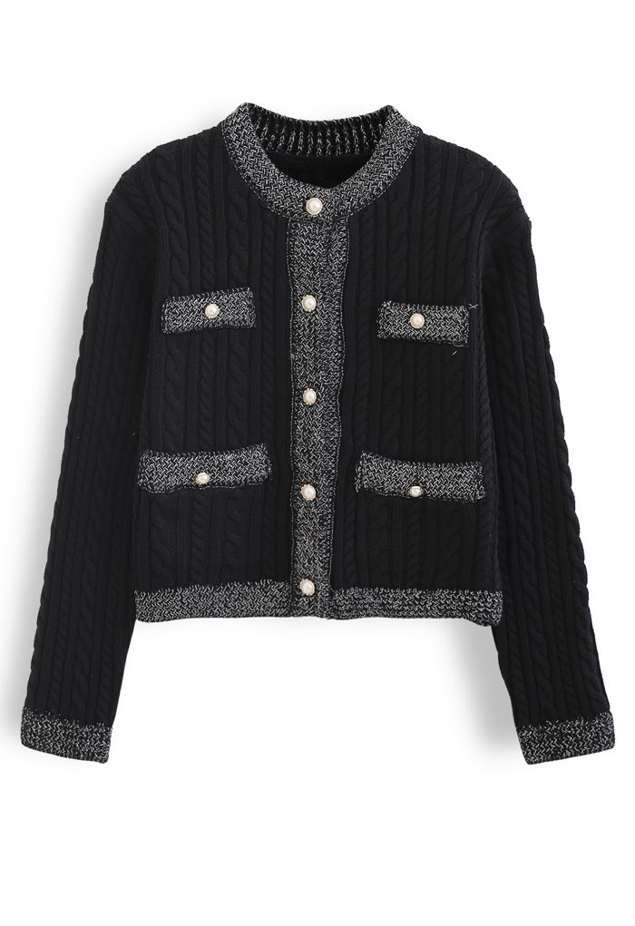 Metallic Edge Button Down Cable Knit Cardigan in Black