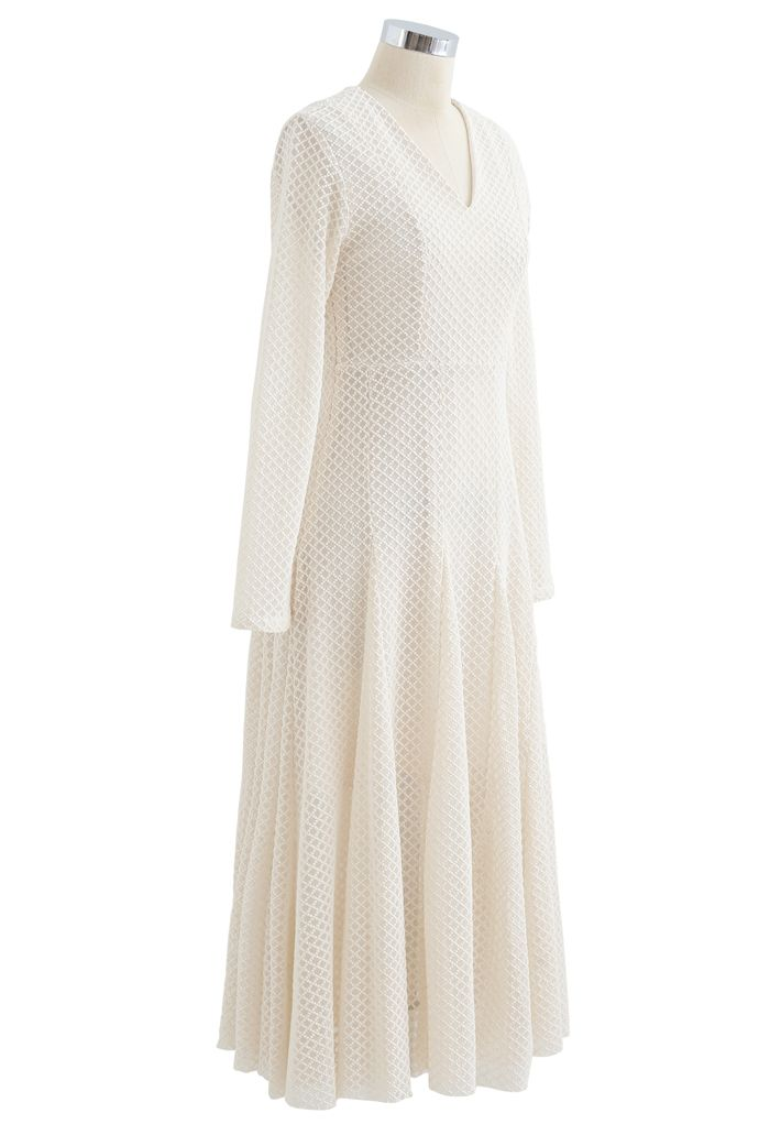 Textured Embroidery V-Neck Frilling Dress in Cream