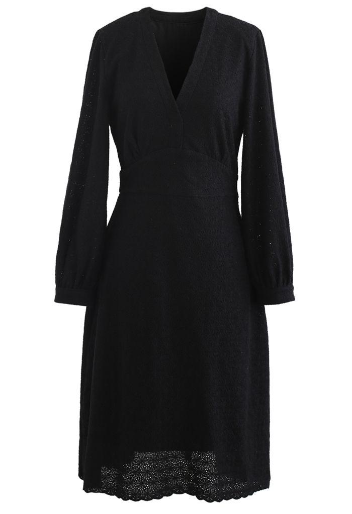 Full Floret Embroidered V-Neck Dress in Black