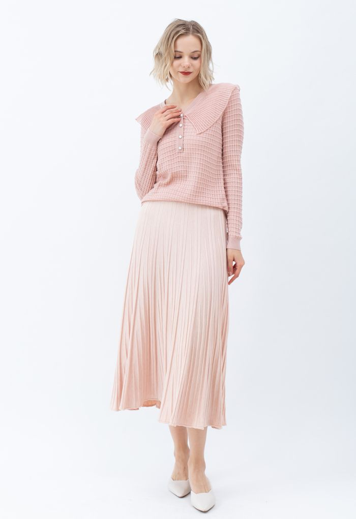 Mesh Collar Button Embossed Knit Top in Pink