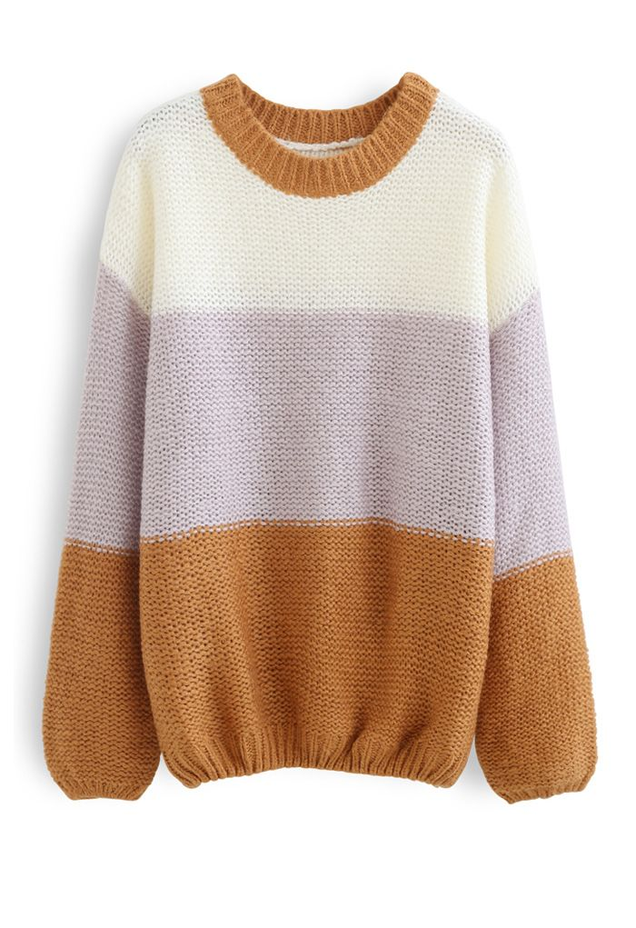 Block Striped Oversize Knit Sweater in Caramel