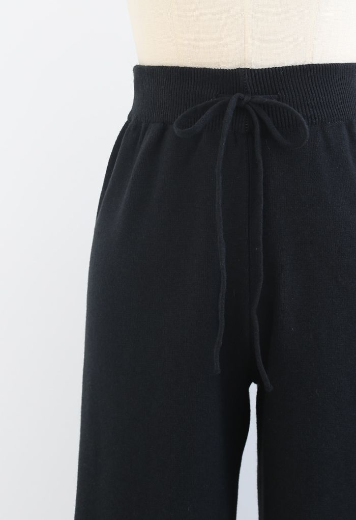 Straight Leg Drawstring Waist Knit Pants in Black