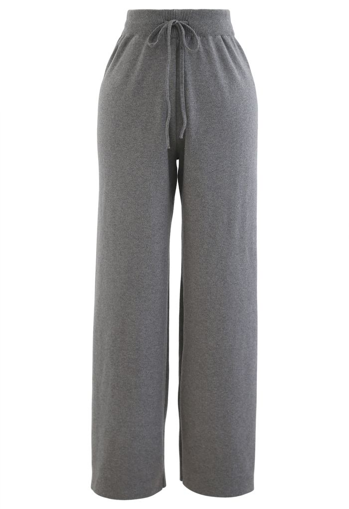 Straight Leg Drawstring Waist Knit Pants in Grey