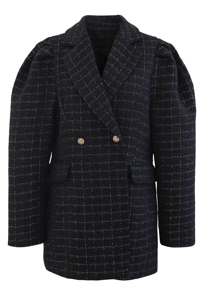 Tweed Puff Shoulders Pockets Coat in Black