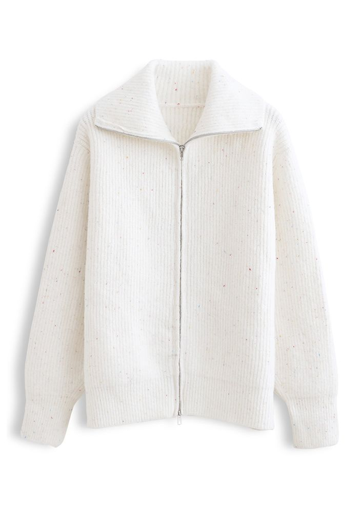 Full Zip Ribbed Knit Cardigan in Ivory