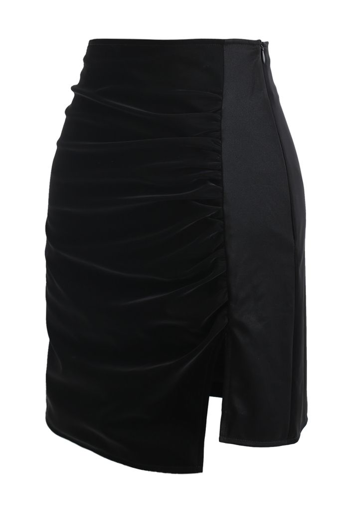 Ruched Faux Leather Split Bud Skirt