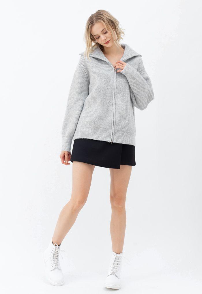 Full Zip Ribbed Knit Cardigan in Grey