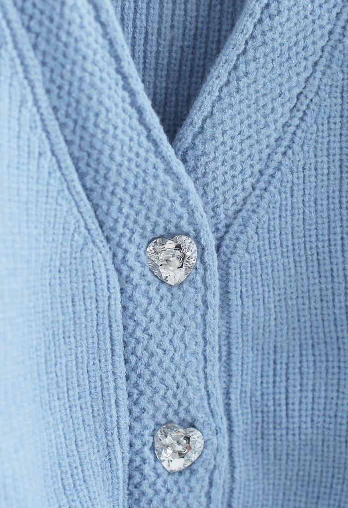 Crystal Button Puff Sleeves Crop Cardigan in Blue