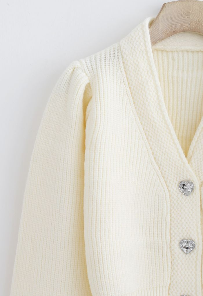 Crystal Button Puff Sleeves Crop Cardigan in Cream