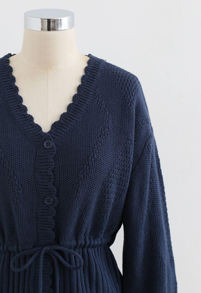 Drawstring V-Neck Button Down Knit Cardigan in Navy