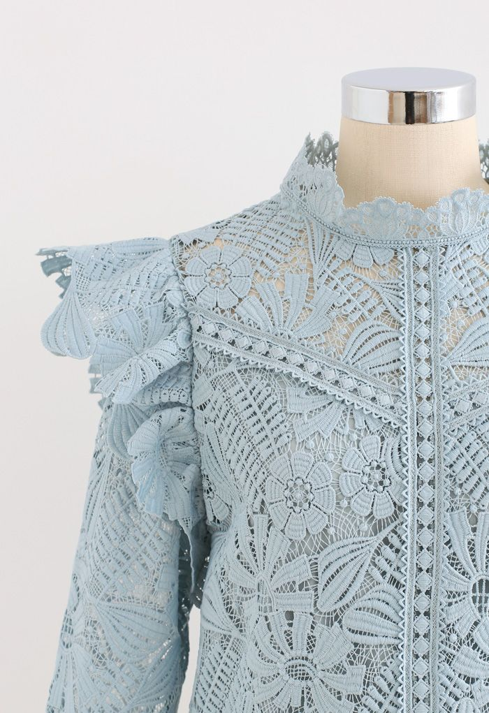 Panelled Sunflower Ruffle Crochet Top in Dusty Blue