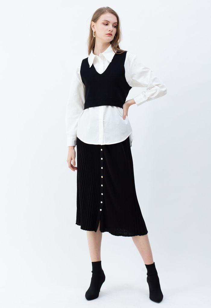 Bowknot Back V-Neck Crop Knit Vest in Black