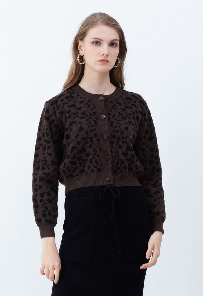Animal Print Button Down Crop Cardigan in Brown