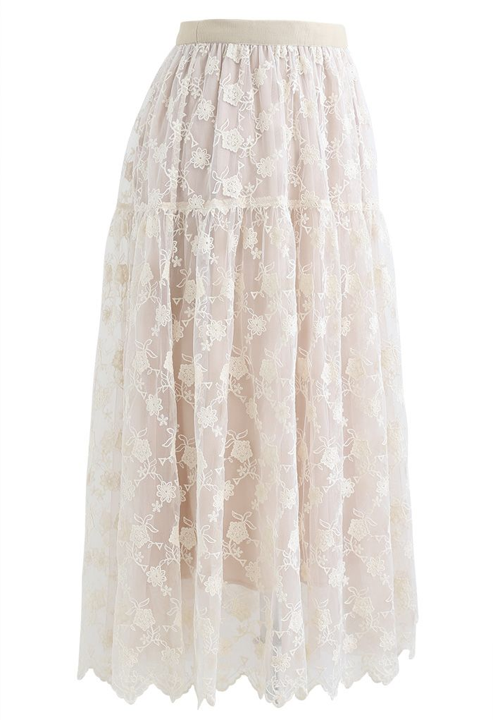 Floral Organza Overlay Mesh Midi Skirt in Cream