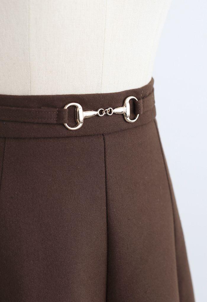 Horsebit Waist Seam Detail Flare Skirt in Brown