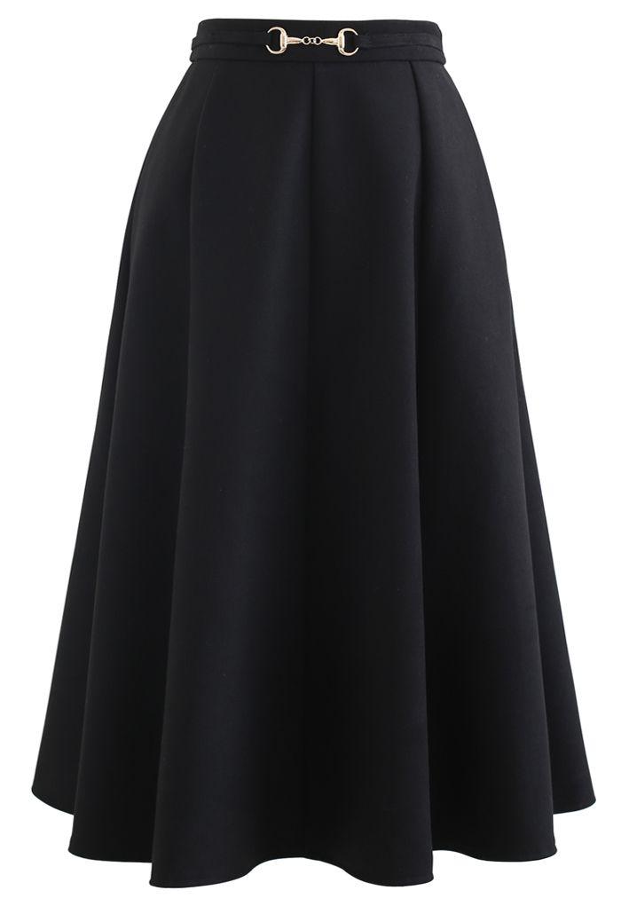 Horsebit Waist Seam Detail Flare Skirt in Black