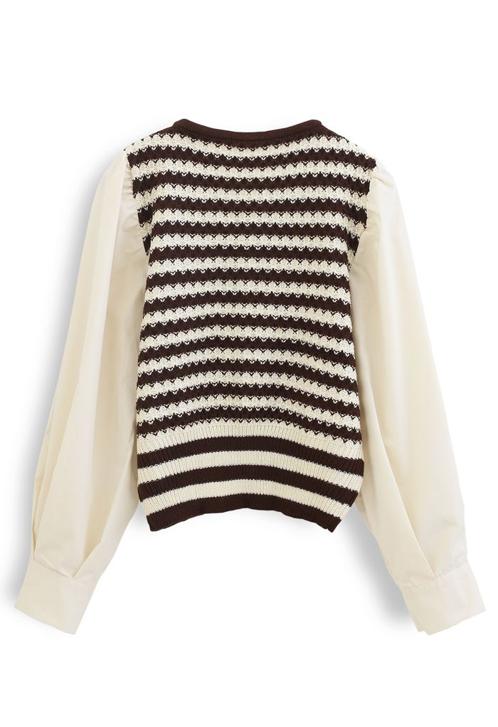 Cotton Sleeves Striped Knit Sweater in Caramel