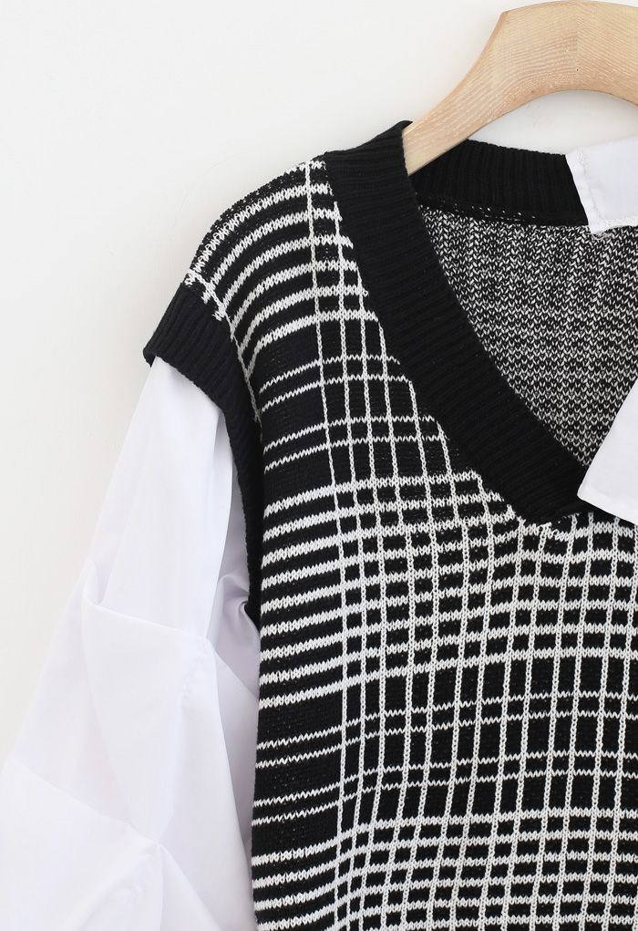 Bubble-Sleeve Splicing Hi-Lo Shirt Sweater in Black
