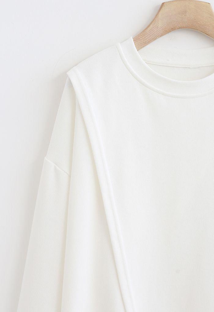 Cross Flap Front Oversized Sweatshirt in White