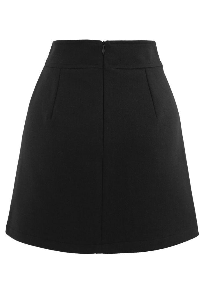 Flap Button Wool-Blend Mini Skirt in Black