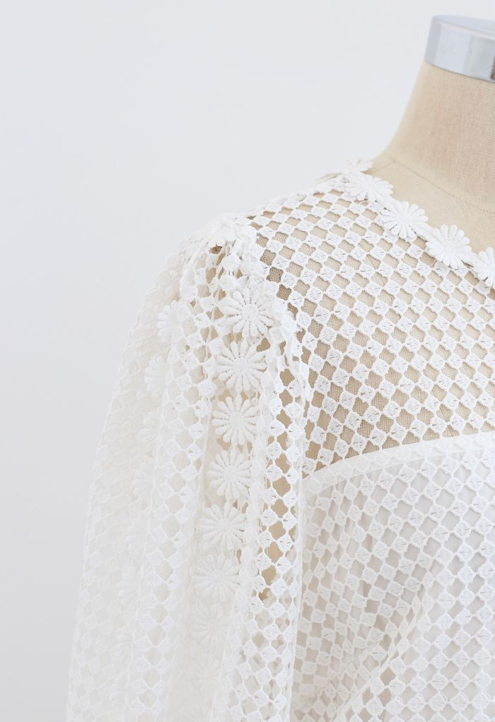 Solid Tone Full Crochet Long Sleeves Top in White