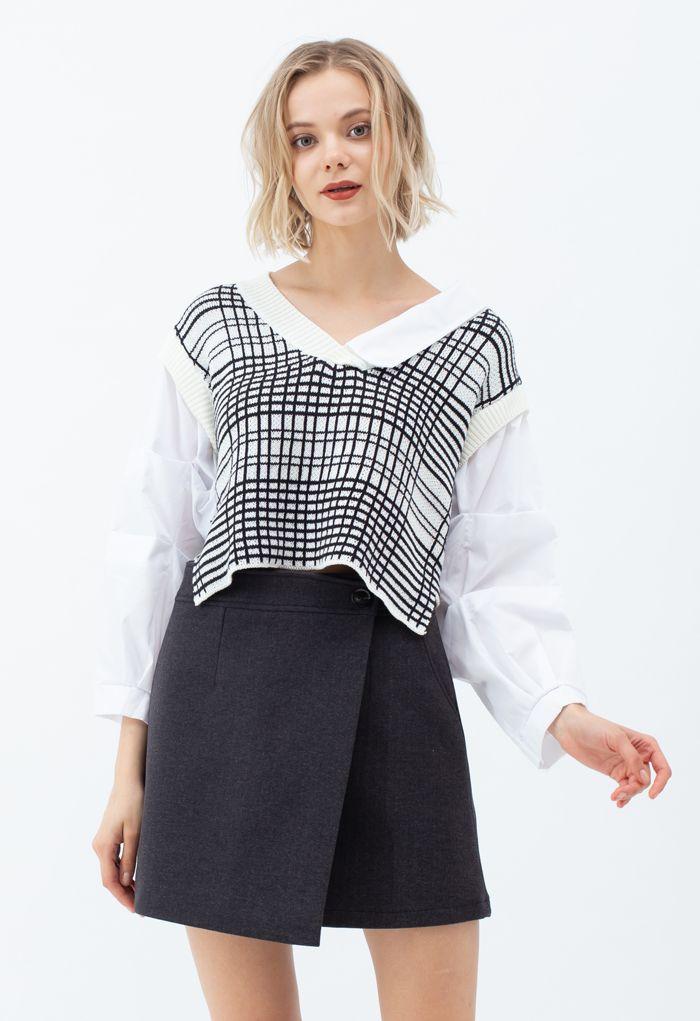 Flap Button Wool-Blend Mini Skirt in Smoke