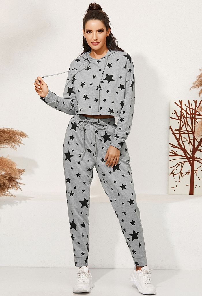 Star Print Drawstring Hoodie and Joggers Set