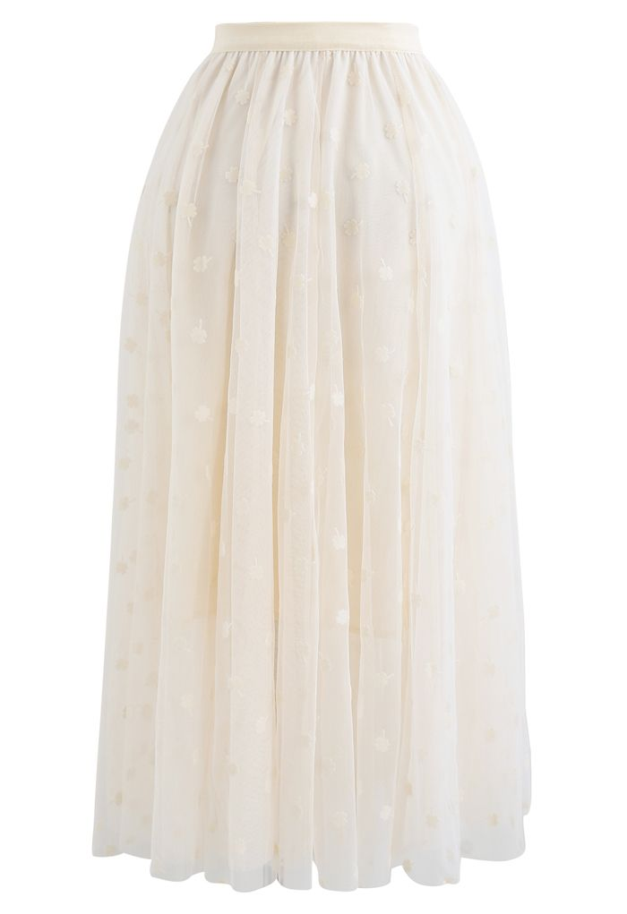 3D Clover Double-Layered Mesh Midi Skirt in Cream